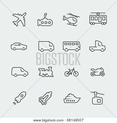Transport vector icons set, thin line style poster