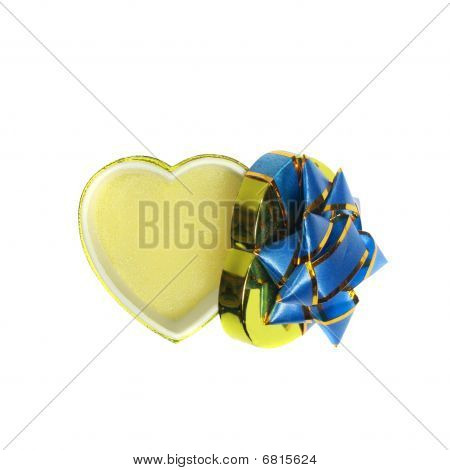 Empty heart-shaped gift box isolated on white