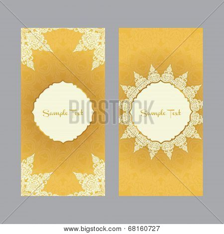 two greeting cards  in east style on gold background