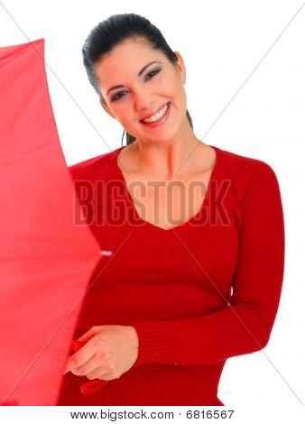 Smiling Woman Holding Umbrella