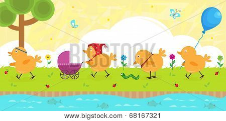 Four baby chicks strolling on the riverbank. Eps10 poster