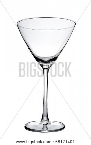 an empty cocktail glass on a white background