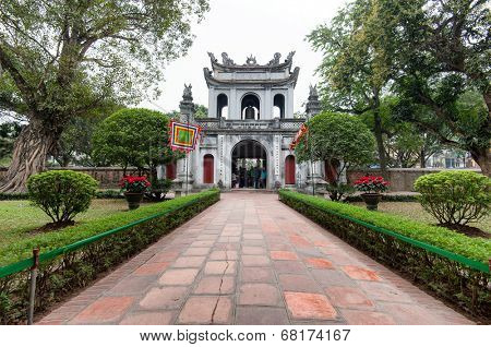 Temple of Literature in Hanoi, Vietnam. The entrance gate