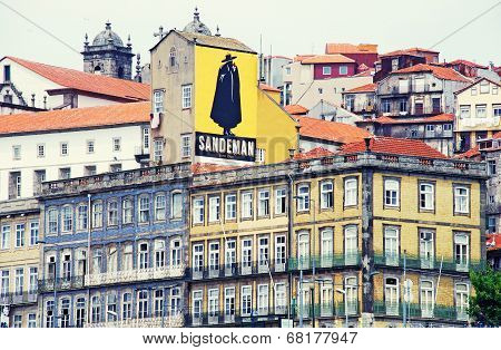 View Of Porto Buildings With Sandeman Advertising Signboard, Portugal