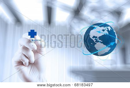 Medical Doctor Hand  Drawing The World Globe In His Hands As Medical Network Concept