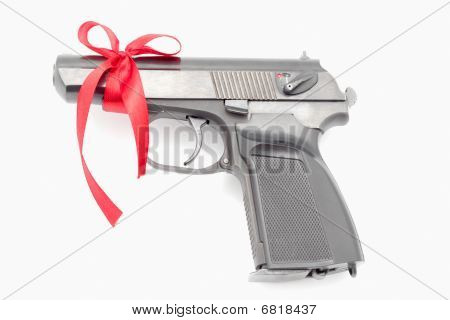Pistol Tied With A Ribbon.