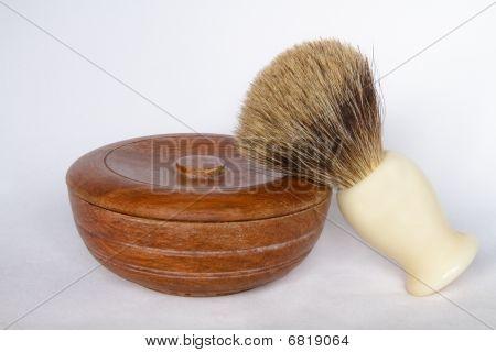 Wooden Shaving Soap Bowl And Brush On White