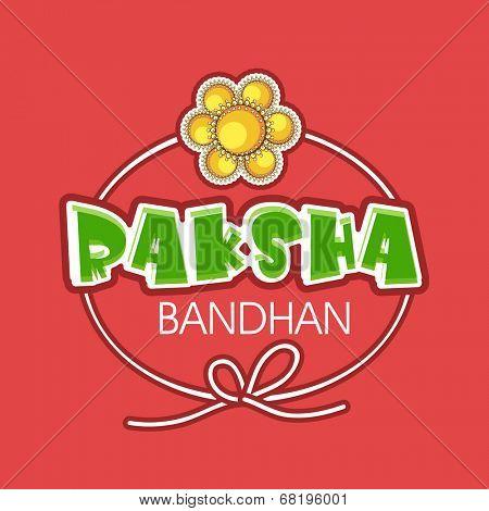Beautiful greeting card design with Raksha Bandhan celebrations with golden rakhi and stylish text on red background.