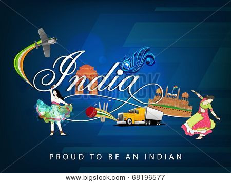 Cultural view of Republic of India with famous monuments, traditional dance and transportation and sports on floral decorated blue background.  poster