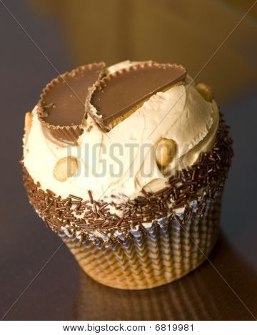 Giant Peanut Butter and Cream Cupcake with Chocolate Sprinkles