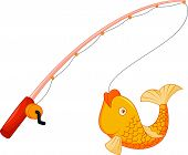 Vector illustration of Cartoon Fishing pole with hook and fish poster