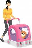 Illustration of a Woman Walking Her Dog in a Stroller poster