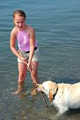 Young pretty girl playing with a dog in lake water poster