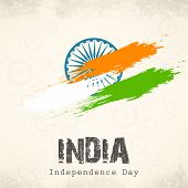 Indian Independence Day celebration with national flag colors and ashoka wheel on abstract grey background for 15th of August, Independence Day celebrations.     poster