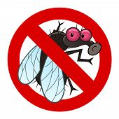 Anti pest sign with a funny cartoon fly. poster