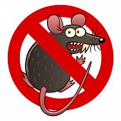 Anti pest sign with a funny cartoon mouse. poster