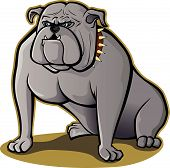 Vector illustration of a bulldog sitting down poster