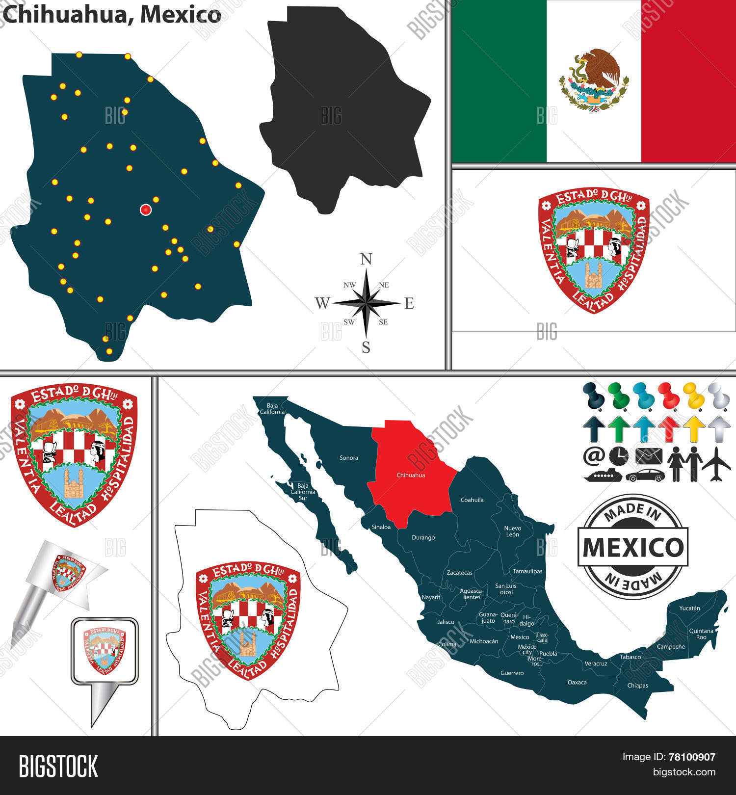 Map Chihuahua, Mexico Vector & Photo (Free Trial) | Bigstock on