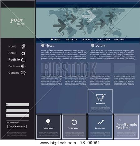 Website template for business, vector