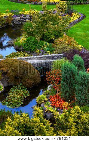 River, bridge & flowers