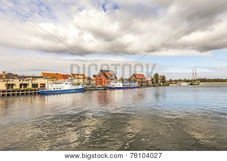 View To Riverside Of Old Village Of Wolgast