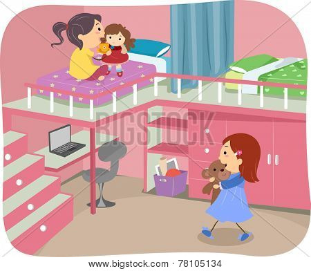 Illustration of Girls Sharing a Bedroom With a Loft