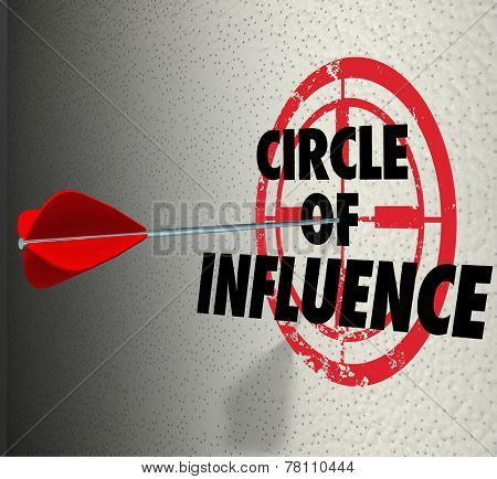 Circle of Influence words on a target with arrow hitting it to illustrate communicating a message to your contacts, friends and family for sales or business mission