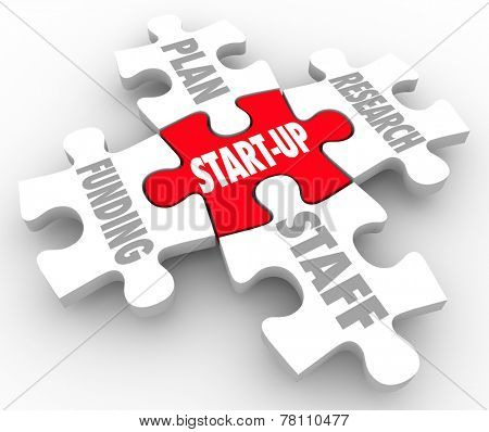Start-Up word on a red puzzle piece surrounded by other aspects or elements of your new business or company strategy including plan, funding, staff and research