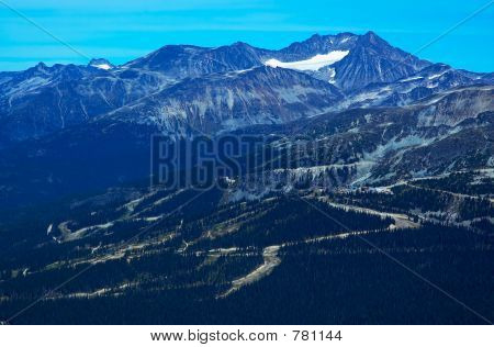 Ski trails on Mountains.