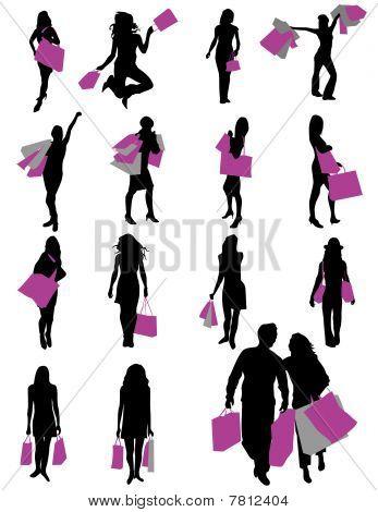 siluetas de chicas en compras
