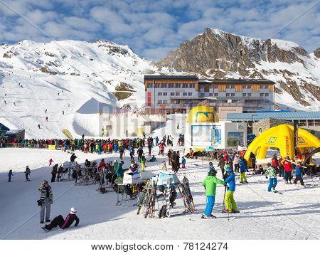 Many People At A Ski Resort