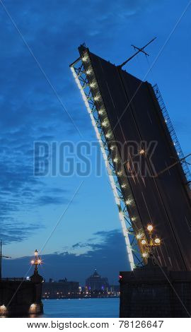 Raised Drawbridge In St. Petersburg