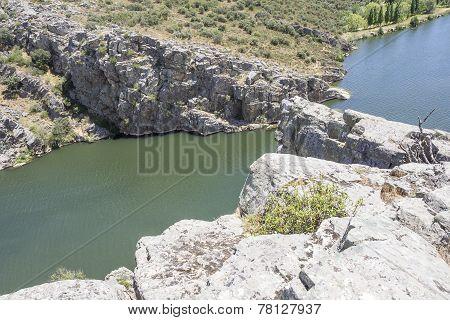 rocky landscape over Esla river in Spain