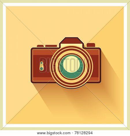 DSLR Professional Camera Icon On Retro Vintage Background vector
