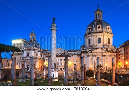 Forum of Trajan during the blue hour with Trajan's column and Santa Maria di Loreto Rome Italy poster