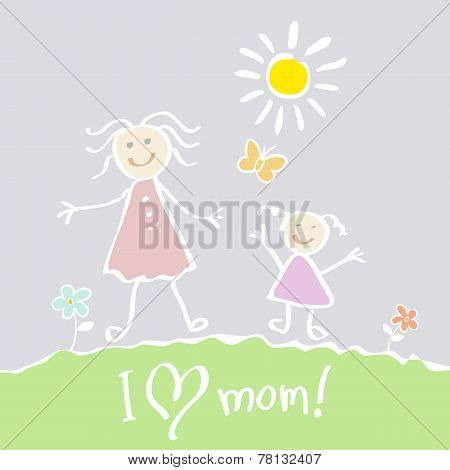 Kids Drawing. The Mother's Day vector heart happy