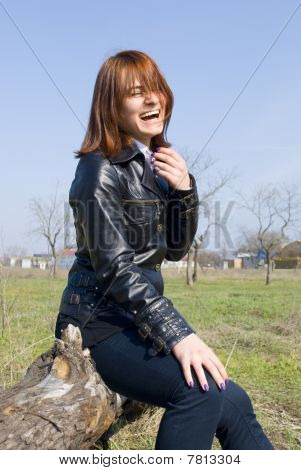 Girl Loudly Laughing On The Snag