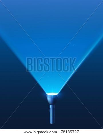 Blue shining flashlight light vector background