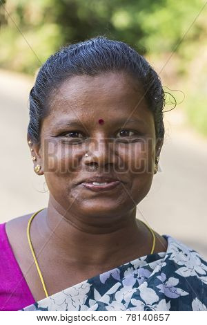 Tamil Woman Close-up Of Happy Face.