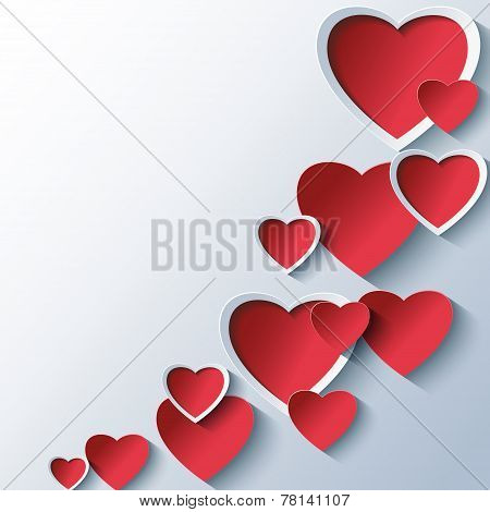 Trendy Abstract Background With 3D Stylized Hearts