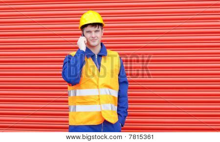 Handsome Male Engineer Talking On The Phone