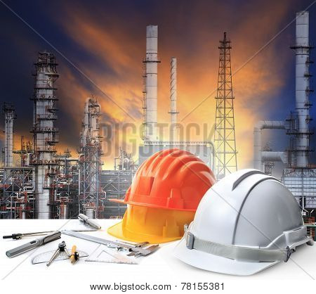 Engineer Working Table In Oil Refinery Plant Heavy Petrochemical Industry Estate Use For Energy,powe