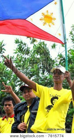a filipino flag bearer