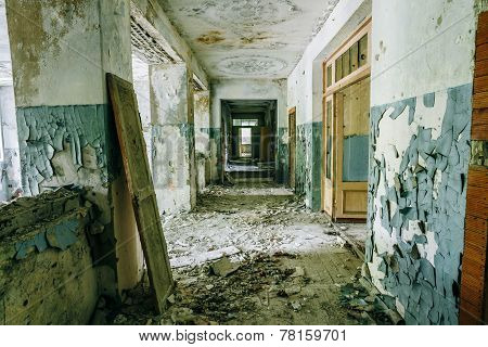 Abandoned House Interior In Chernobyl. School Of Pripyat. Chornobyl Disasters poster