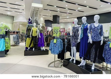 DUBAI - OCTOBER 15: boutique in the Dubai Mall on October 15, 2014 in Dubai, UAE. The Dubai Mall located in Dubai, it is part of the 20-billion-dollar Downtown Dubai complex, and includes 1,200 shops.