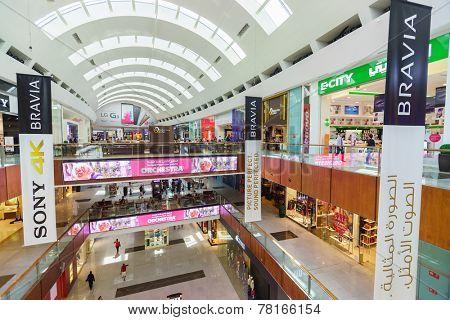 DUBAI - OCTOBER 15: The Dubai Mall interior on October 15, 2014 in Dubai, UAE. The Dubai Mall located in Dubai, it is part of the 20-billion-dollar Downtown Dubai complex, and includes 1,200 shops.