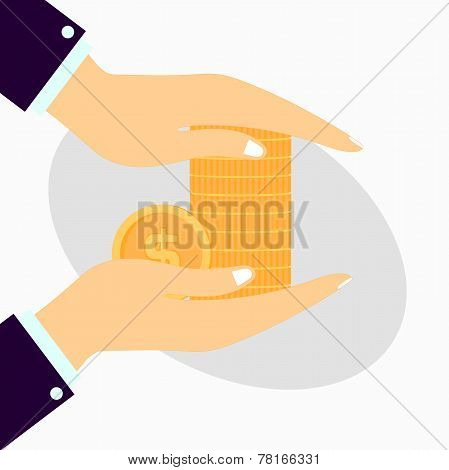 Vector Illustration Of Hands Holding Gold Coins