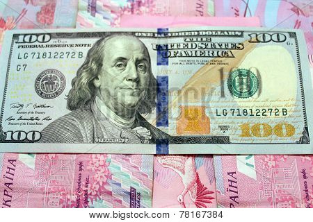 American Dollars On The Grivnas Banknotes' Background