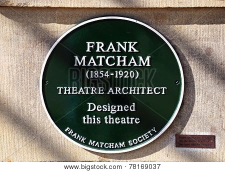 Frank Matcham Architect Sign.