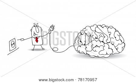Plug your brain. Joe, the businessman plugs a brain. It's a metaphor about to find ideas and about reflexion